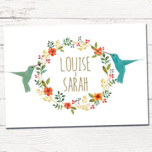 huwelijkskaartjes kolibri | trouwkaarten lente en zomer | tekening