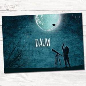 Geboortekaartje op maat Dauw in maanlicht met sterren