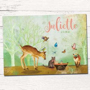 Geboortekaartje ontwerp op maat met kat, vos, vogels, baby, bambi, hertje in het bos