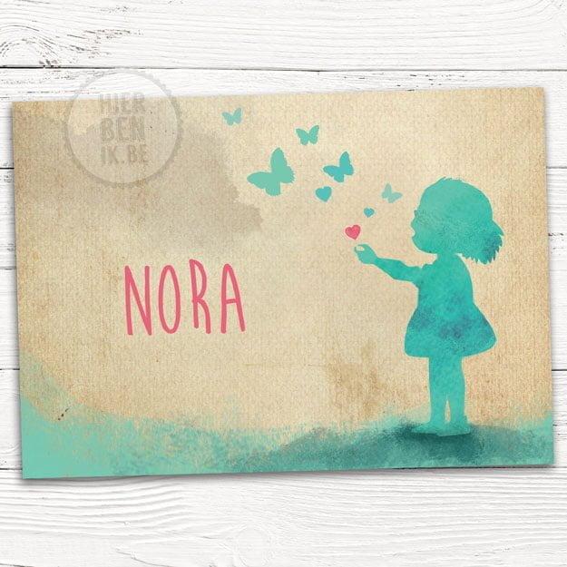Geboorte kaartje silhouet meisje met vlinders