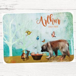 geboortekaartje op maat ontworpen met hond en konijnen