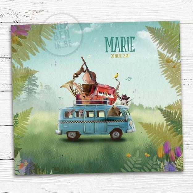 geboortekaartje met muziekanten - dieren die muziek maken in een volkswagen bus