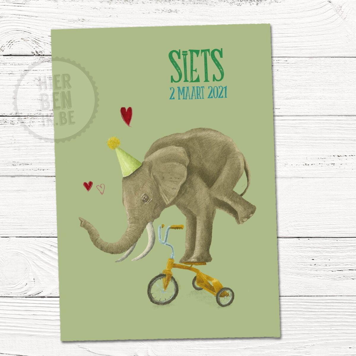 geboortekaartje met olifant op driewieler