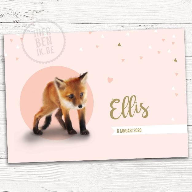 geboortekaartje met vos meisje en hartjes geometrisch