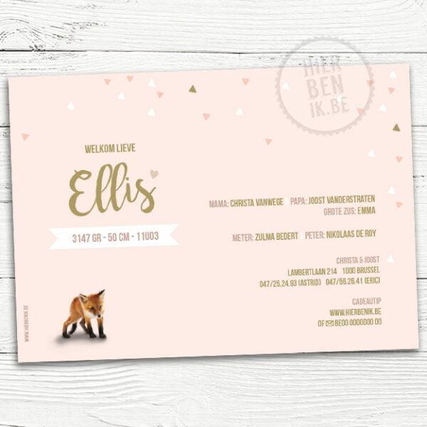 babykaartje met vos meisje en hartjes geometrisch