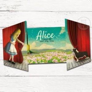 geboortekaartje ontwerp op maat - Alice in wonderland tekening