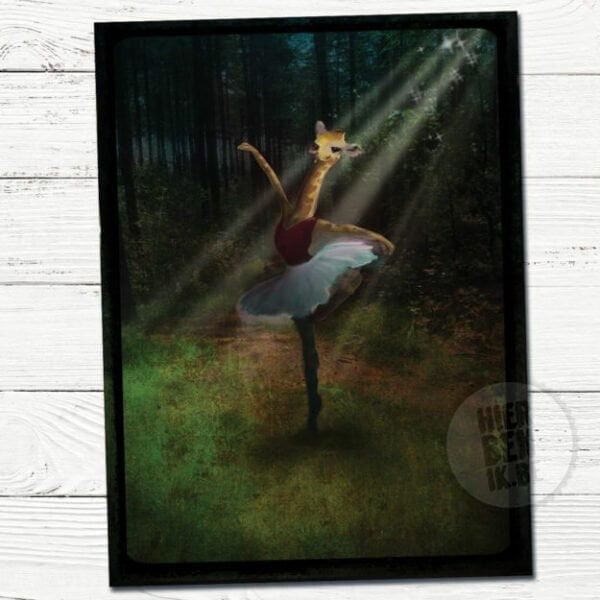Wenskaarten Illustratie dansende giraf | sprookje | ballet | sfeervol