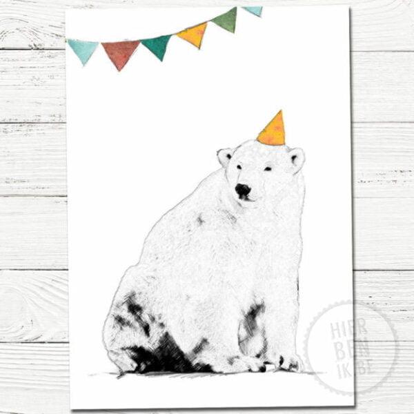 Luxekaart Wenskaart Feest Beer. Deze luxe wenskaart met een feestende beerheeft een tekening van een beer met feesthoedje. De Scandinavische stijl