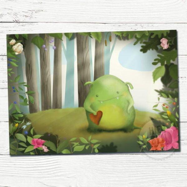 Wenskaart Illustratie monster in bos | getekend | schattig