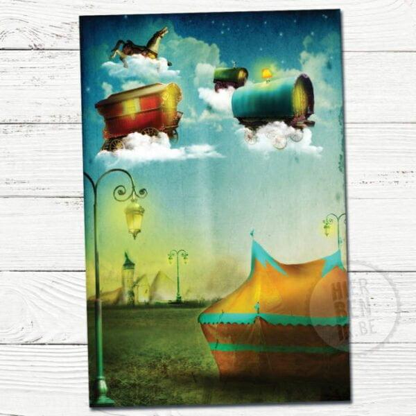 Wenskaart Illustratie Vliegend Circus | dromerig | sfeervol | wolken | vakantie