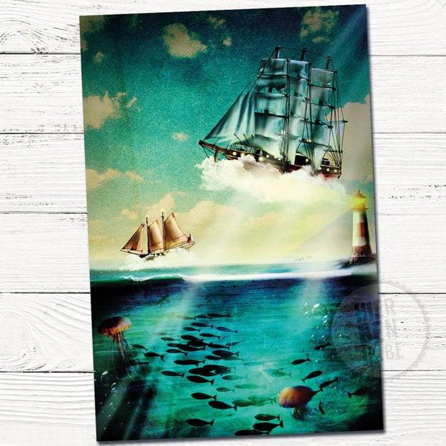Illustratie Wenskaartje Zee | boten | zee | vuurtoren | lucht