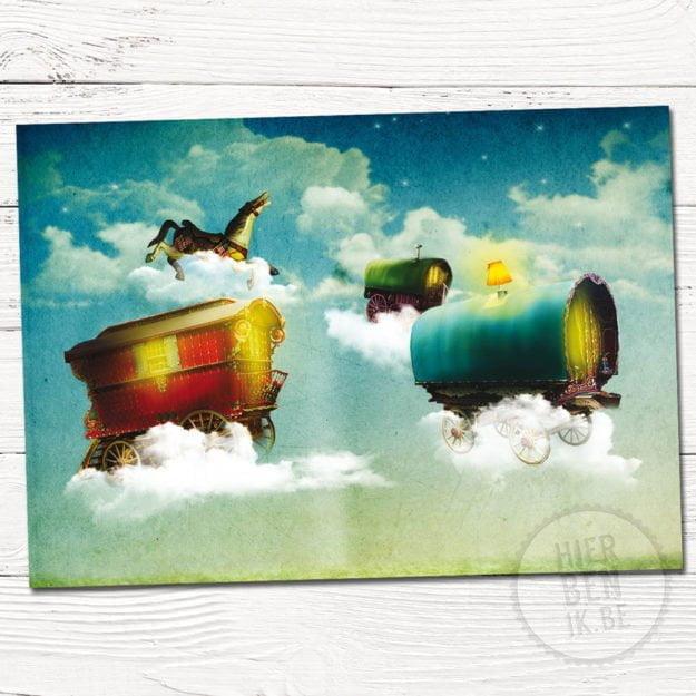 Wenskaart Illustratie vliegende wagens   romantisch   kaart   uitnodiging