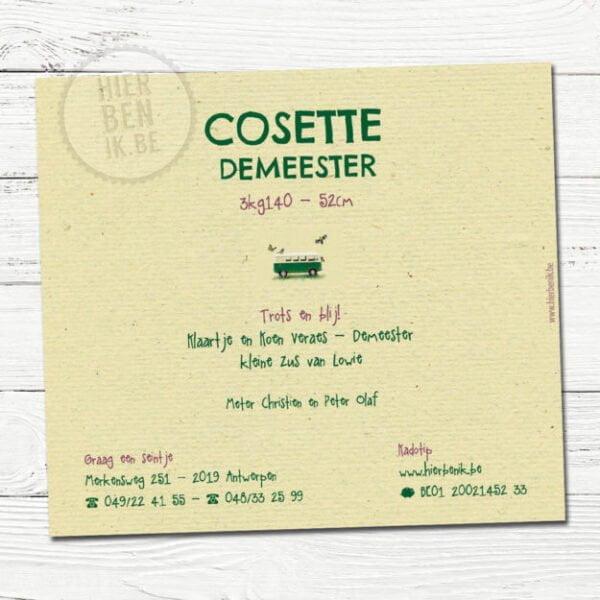 Het babykaartje van Cosette is een design voorzien met een leuk Volkswagen busje en vogeltjes