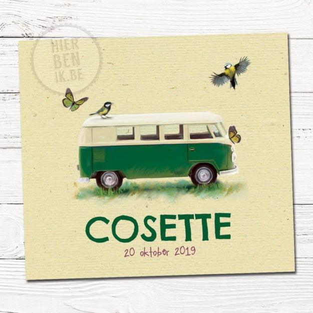 Het geboortekaartje van Cosette is een design voorzien met een leuk VW busje en vogeltjes