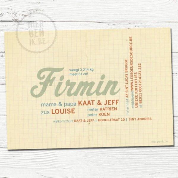 retro kaartje voor geboorte met profiel van jongen en ruitjes papier