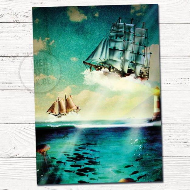 sprookachtig babykaartje met boot en zee