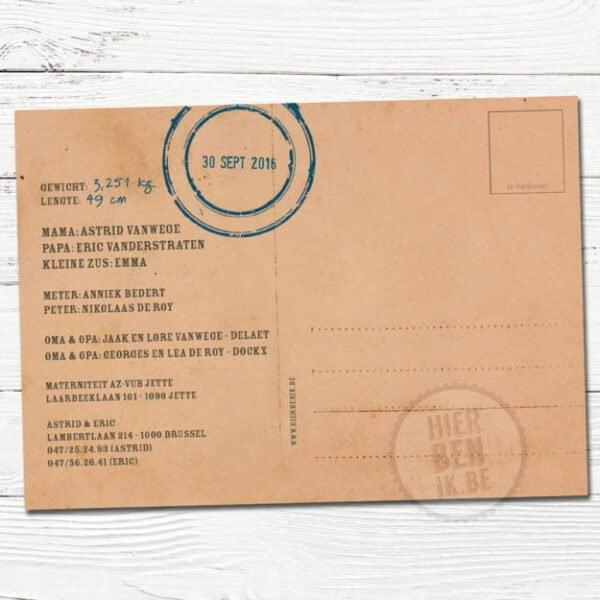 geboorte kaartje met volkswagen busje en postkaart achterkant