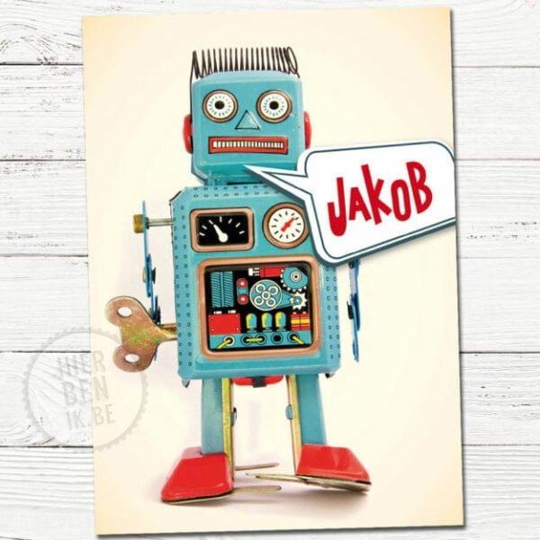 babykaartje voor geboorte met retro robot