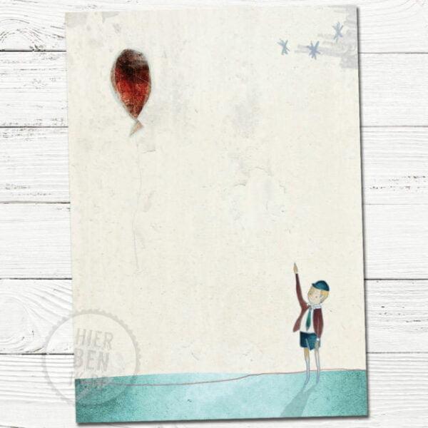 geboortekaartje jongen met ballon | tekening | scandinavisch | babykaartje