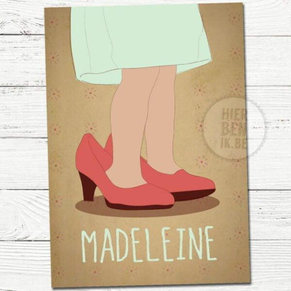 getekend geboortekaartje voor meisje met schoenen