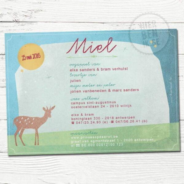 babykaartjes met hert en konijn in bos getekend sjablonen