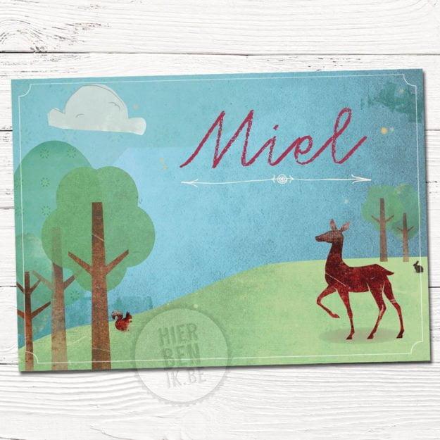 geboortekaartjes met hert en konijn in bos getekend sjablonen