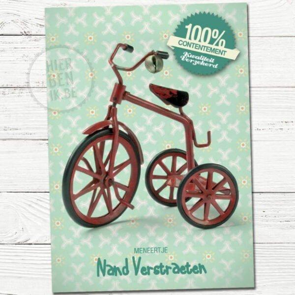 retro fiets op geboortekaartje met vintage motief