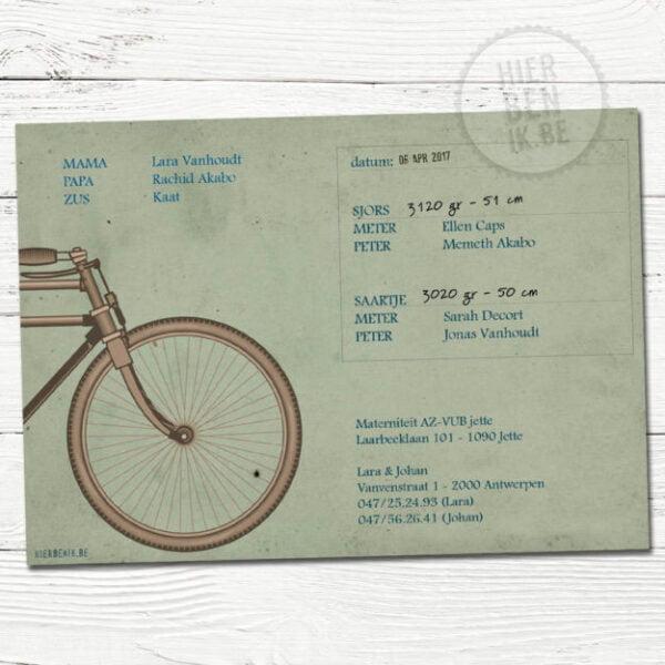 geboortekaartje voor tweeling met fiets - tandem retro stijl met kraft papier
