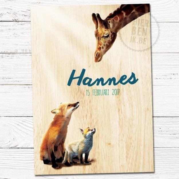 geboortekaartjes Hannes met giraf en vos op hout