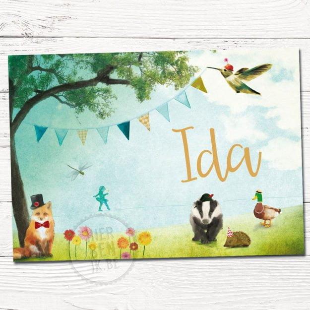 geboortekaartje ontwerp op maat met getekende dieren in zomers lente frisse kleuren