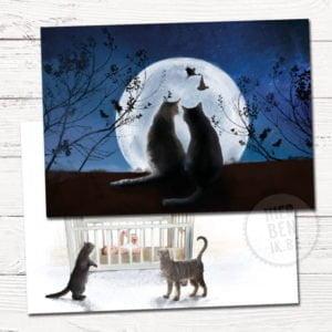 Geboortekaartje met ontwerp op maat - katten in maanlicht en ooievaar met baby - kat aan baby bed