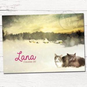 geboortekaartje ontwerp op maat met twee katten in winters landschap. 2 poezen liggen op de voorgrond in de sneeuw.