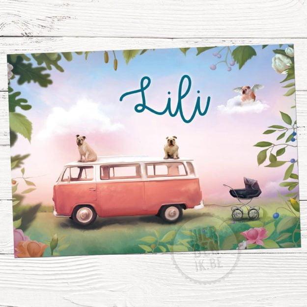 geboortekaartje met tekening VW bus met honden en kinderwagen
