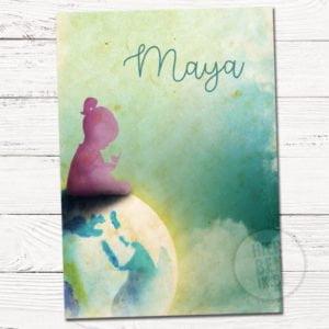 kaartje voor geboorte met ontwerp om maat meisje silhouet op wereldbol aarde waterverf aquarel