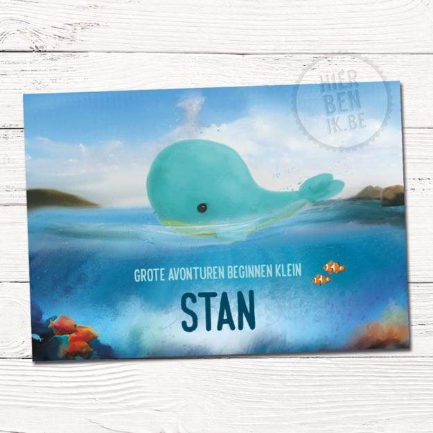het ontwerp van dit geboortekaartje laat een tekening zien met een walvis in de zee