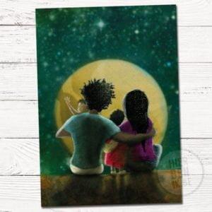 Geboortekaartje op maat familie portret getekend maan en sterren