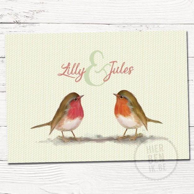 babykaartje voor tweeling met retro motief en tekening vogel