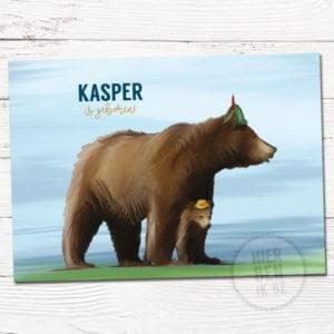 getekend kaartje voor geboorte moeder beer met baby beer