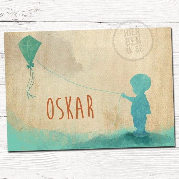 geboortekaartje silhouet jongen met vlieger