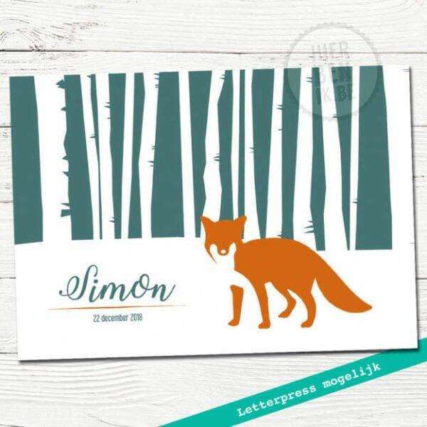 geboortekaartje met vos in sneeuwlandschap silhouet - letterpress mogelijk