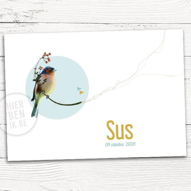 strak geboortekaartje met vogel vink en takje bessen bloemen