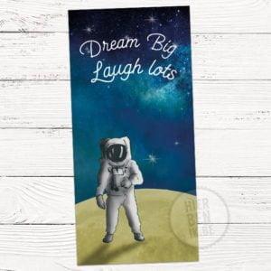 geboortekaartje met tekening astronaut in heelal
