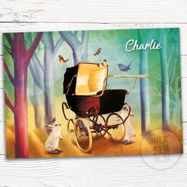 geboortekaartje Charlie is een artistiek kaartje met dieren in bos