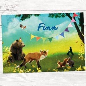 kaartje voor geboorte ontwerp op maat met dieren in natuur: beer, vos, konijn en eekhoorn