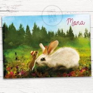 kaartje voor geboorte konijn en muisje getekend in een weide