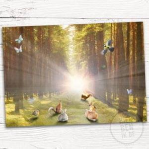 getekend geboortekaartje met dieren in een bos