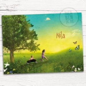 Geboortekaartje Nila in zomerzon met zusje achter fiets in kar. Vlinders en bloemen maken het kaartje extra sfeervol