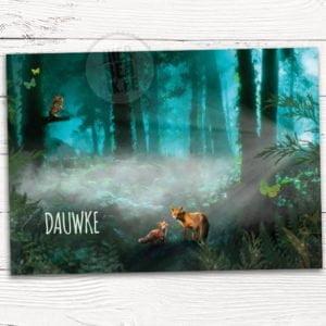geboorte kaartje bos met vos en uil magische sfeer