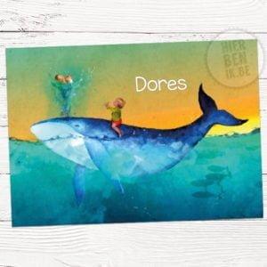kaartje voor geboorte met walvis