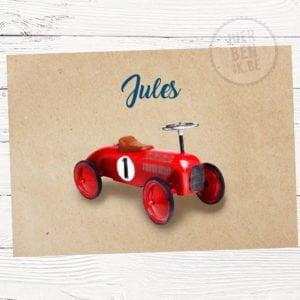 geboortekaartje met kleine auto Baghera Vintage
